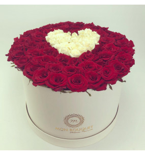Box L blanche Rose rouge...