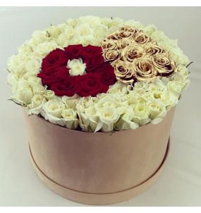 Box L velours Beige Rose...
