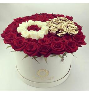 Box L blanche Rose rouge Bague