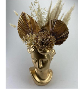 Vase visage Femme doré...